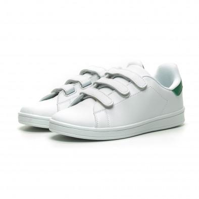 Бели мъжки кецове зелена пета и лепенки it230519-14 3