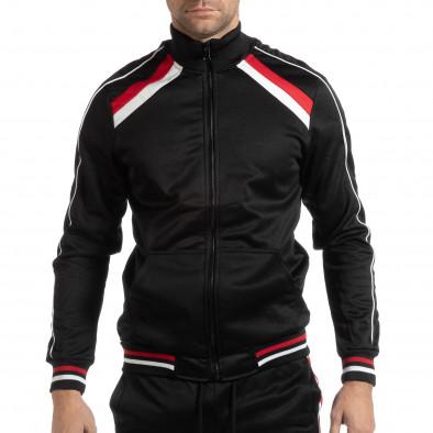 Черно мъжко горнище с бели и червени ивици it261018-79 2