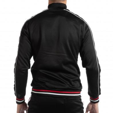 Черно мъжко горнище с бели и червени ивици it261018-79 3