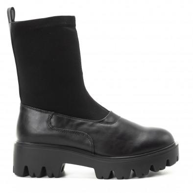 Дамски черни боти тип чорап с грайфери it301118-20 2
