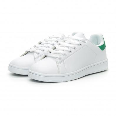 Basic дамски бели кецове зелена пета it150319-56 3