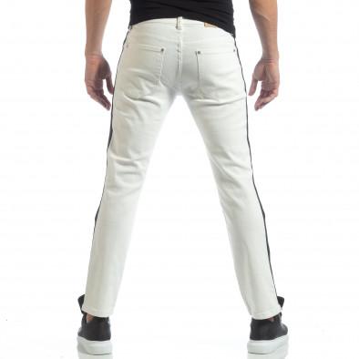 Ултрамодерни мъжки дънки в бяло с кантове it040219-26 4