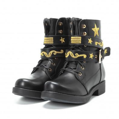 Черни дамски боти с връзки и златиста бродерия it140918-37 3