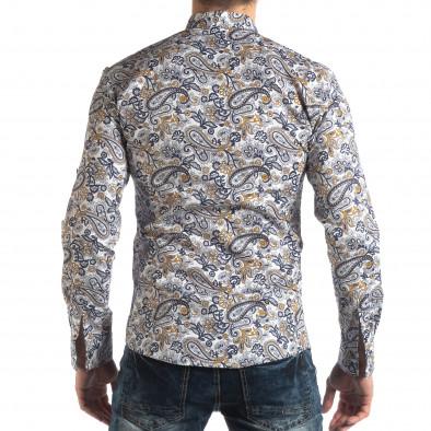 Мъжка бяла риза кашмирен десен с жълто it210319-89 4