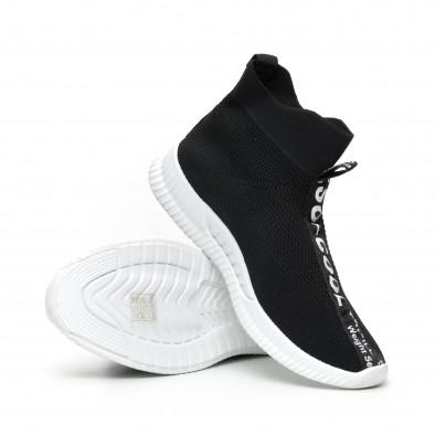 Мъжки slip-on маратонки чорап с бели надписи в черно it110919-1 4