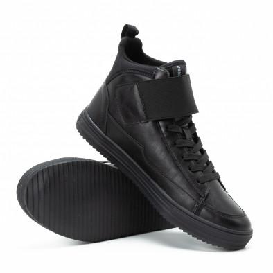 Високи мъжки кецове в черно с лепенки it140918-8 4