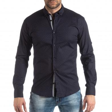 Мъжка вталена риза тъмно син кръстовиден десен it210319-96 3