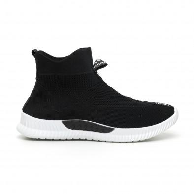 Мъжки slip-on маратонки чорап с бели надписи в черно it110919-1 2