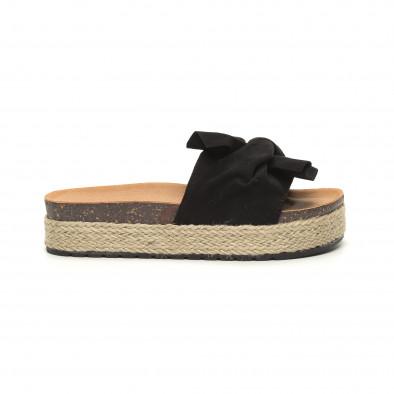 Черни дамски чехли с конопен кант it050619-22 2