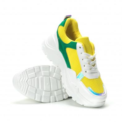 Жълто-зелени дамски маратонки с обемна подметка it250119-38 4