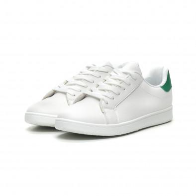 Бели мъжки кецове зелена пета и връзки it040619-1 3