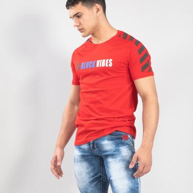 Червена мъжка тениска с реглан ръкав it150419-79 2