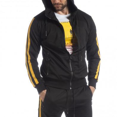 Черен мъжки Biker суичър жълт кант it040219-106 2