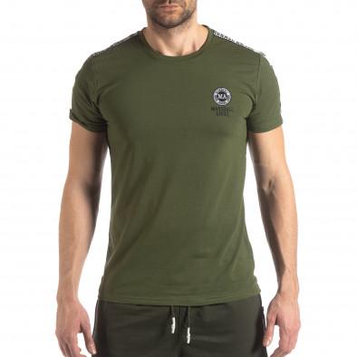Зелена мъжка тениска с лого кант it210319-82 2