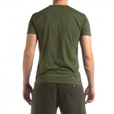 Зелена мъжка тениска с лого кант it210319-82 4