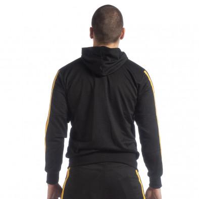 Черен мъжки Biker суичър жълт кант it040219-106 4