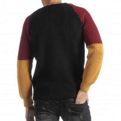 Мъжки пуловер в черно, жълто и червено it051218-54 3