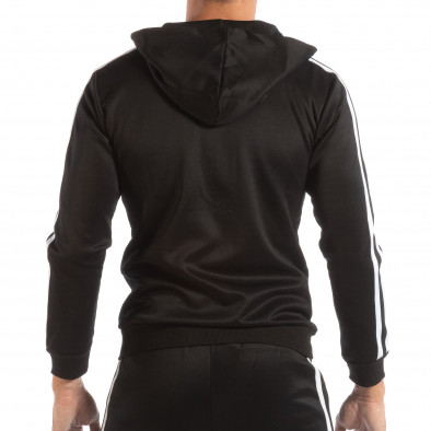 Мъжки черен суичър с качулка и бели кантове it240818-105 3