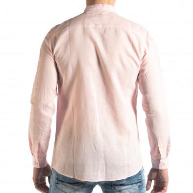 Мъжка риза от лен и памук в розово it210319-104 3