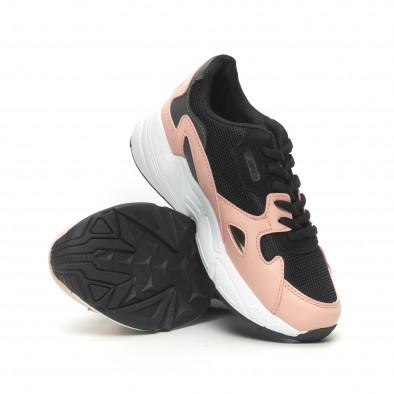Дамски маратонки черно и розово с дебела подметка it230519-19 4