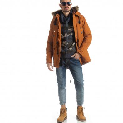 Мъжки пуловер с поло яка син камуфлаж it051218-50 3