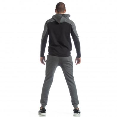 Сиво-черен спортен мъжки комплект с качулка ss-LP216-LP211 6