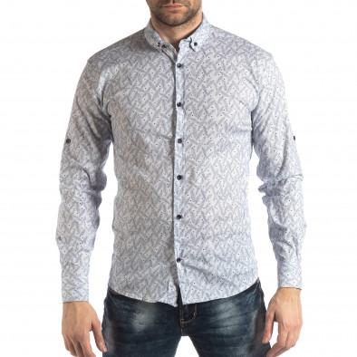 Мъжка Slim fit риза с бял десен it210319-99 2