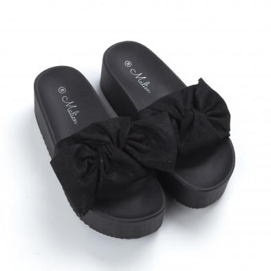 Дамски чехли черни на платформа it050619-29 3