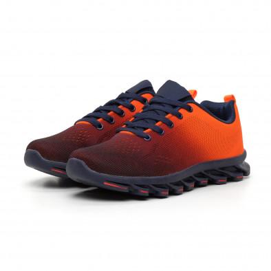 Неоново оранжеви мъжки маратонки с релефна подметка it110919-6 3