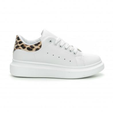 Дамски бели кецове принт пета леопард it150319-45 2