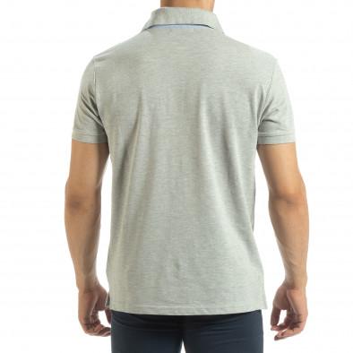 Мъжки сив polo shirt със синьо столче it120619-31 3