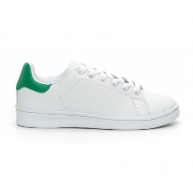 Basic дамски бели кецове зелена пета it150319-56 2