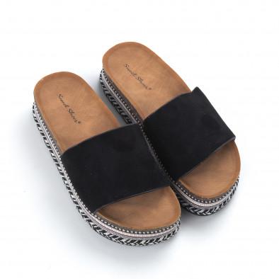 Черни дамски чехли декорирана платформа it050619-57 3