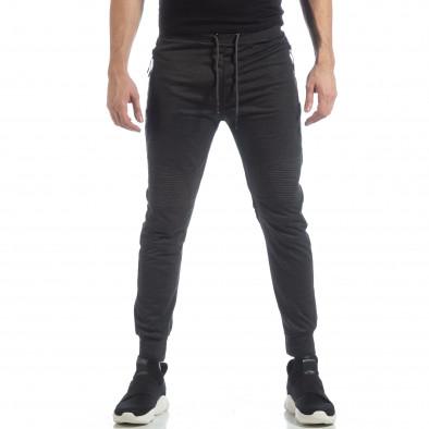 Мъжки джогър тип Biker в тъмно сиво it040219-47 2