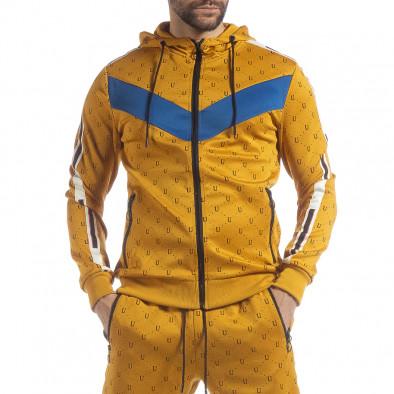 Мъжки жълт суичър с акценти it040219-112 2