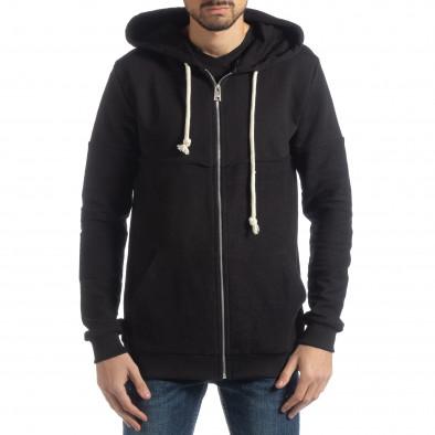 Basic мъжки черен памучен суичър it051218-34 2