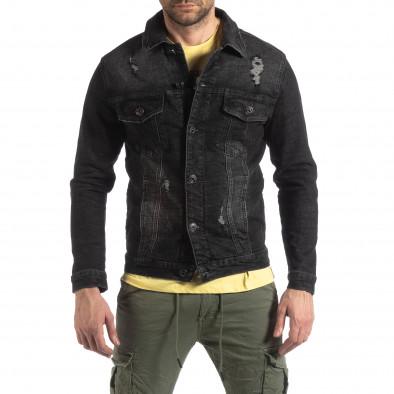 Мъжко еластично дънково яке в черно it210319-108 3