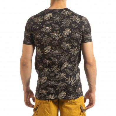Мъжка тениска Leaves мотив в черно it090519-57 3