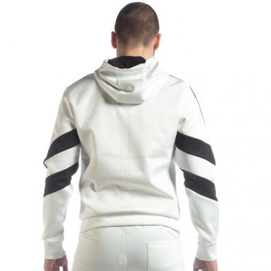 Мъжки бял суичър с V ивици it040219-108 4