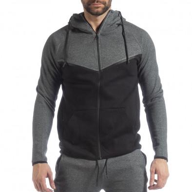 Сиво-черен спортен мъжки комплект с качулка ss-LP216-LP211 4