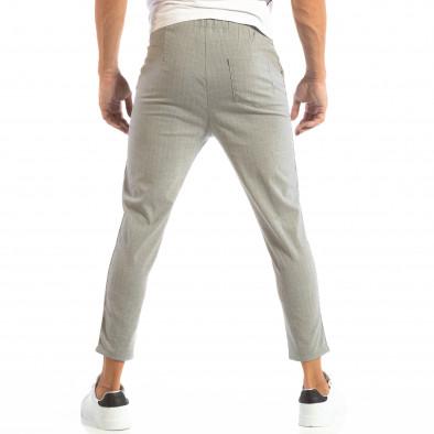 Лек мъжки панталон на райе в светло сиво it240818-68 4