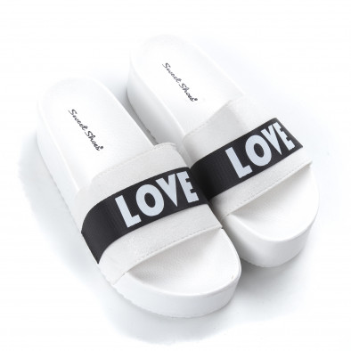 Дамски бели чехли Love на платформа  it050619-56 3