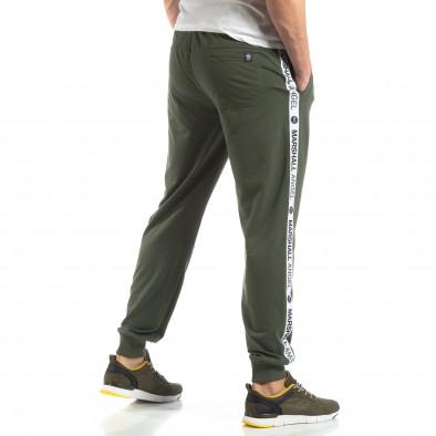 Зелено мъжко долнище с лого кантове it210319-48 2