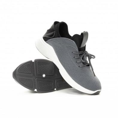 Комбинирани текстилни маратонки в сиво и черно it221018-38 4