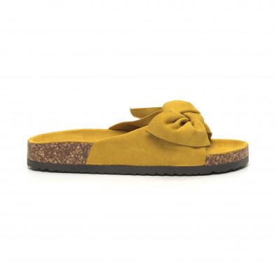 Жълти дамски чехли с панделка it050619-44 2