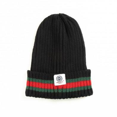 Мъжка черна плетена шапка с кант  it051218-82 2