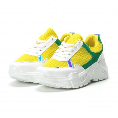 Жълто-зелени дамски маратонки с обемна подметка it250119-38 3