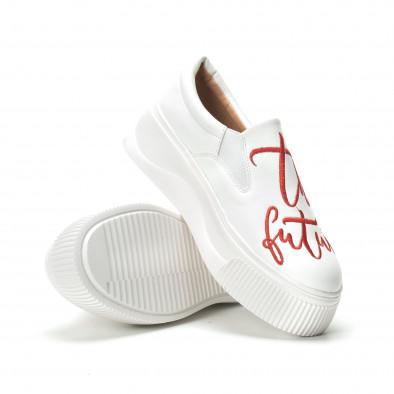 Slip-on бели дамски кецове с червен надпис it250119-43 4