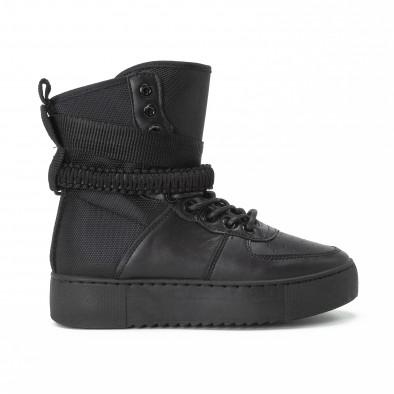 Високи дамски кецове All black с аксесоар it150818-62 2
