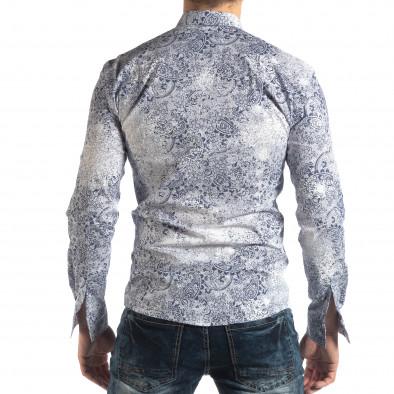 Slim fit мъжка риза Vintage десен в бяло it210319-97 4